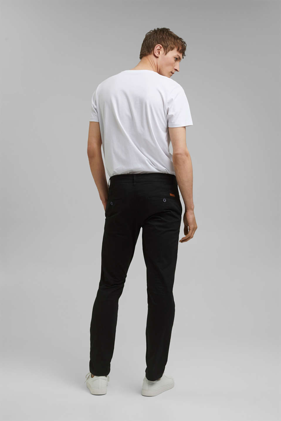 Stretch chinos in stretch cotton, BLACK, detail image number 3