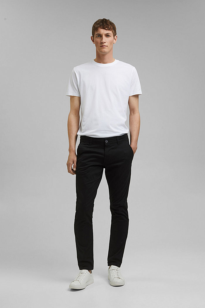 Stretch cotton chinos, BLACK, detail image number 6