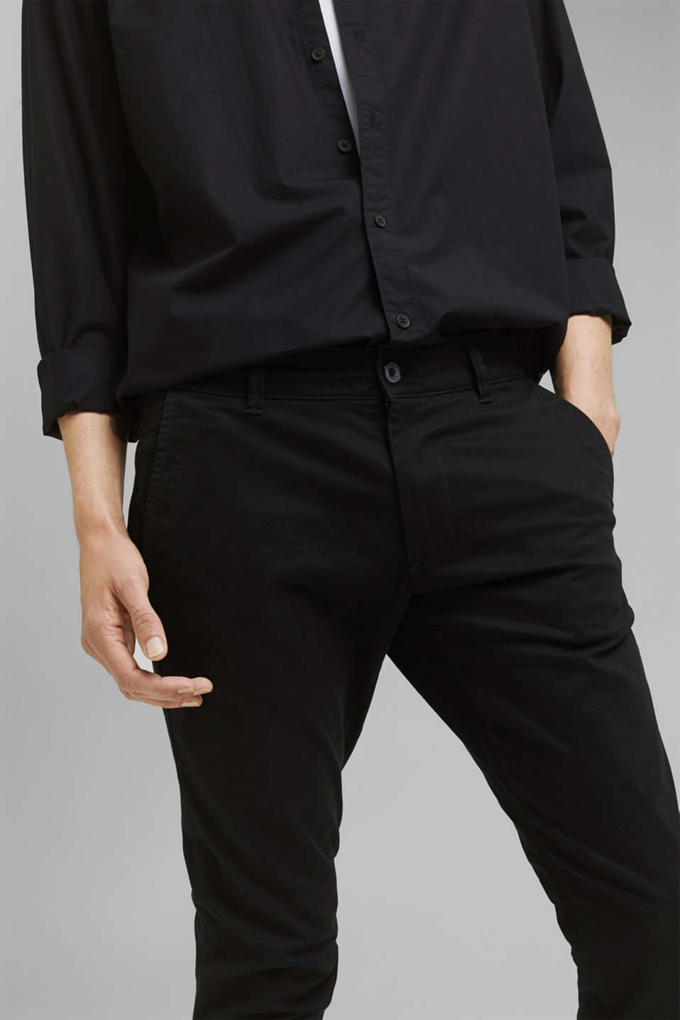 Stretch chinos in stretch cotton, BLACK, detail image number 2