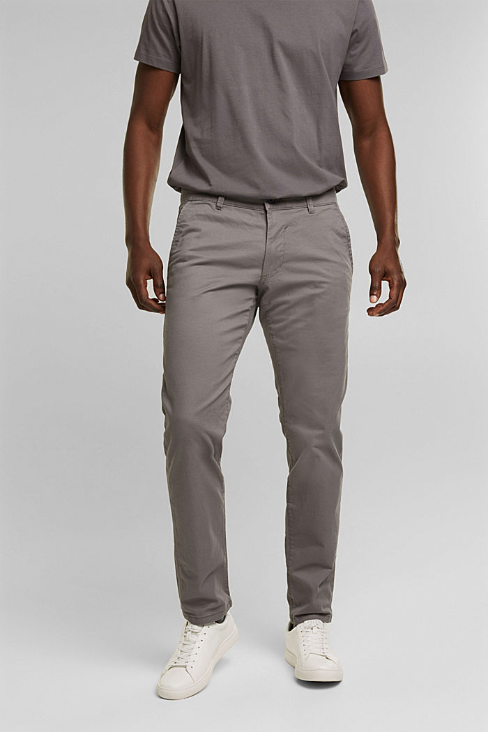 Stretch-Chino aus Baumwoll-Stretch, GREY, detail image number 0