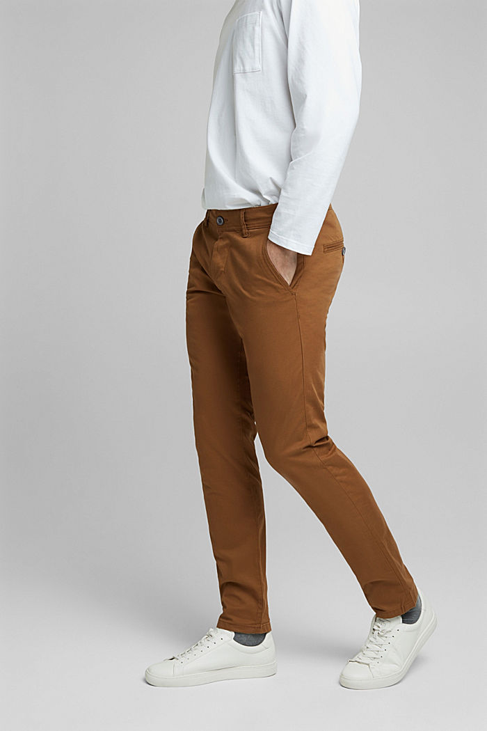 Chino van katoen-stretch, CAMEL, detail image number 0