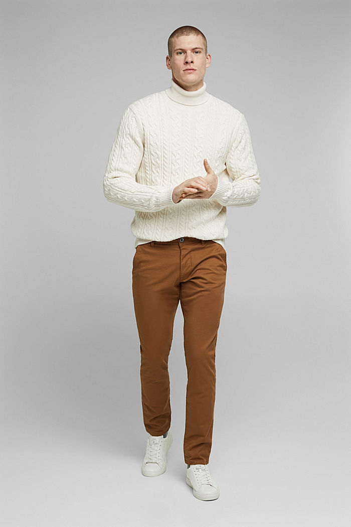 Stretch-Chino aus Baumwoll-Stretch, CAMEL, detail image number 1