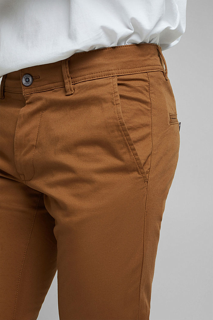 Chino van katoen-stretch, CAMEL, detail image number 2
