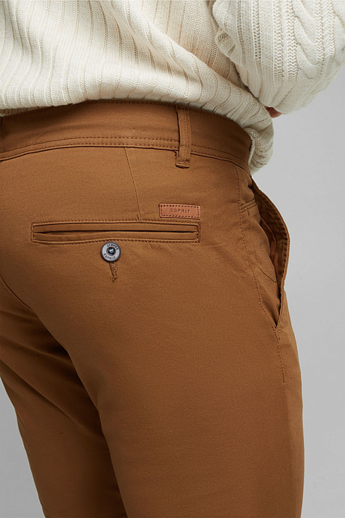 Chino van katoen-stretch, CAMEL, detail image number 5