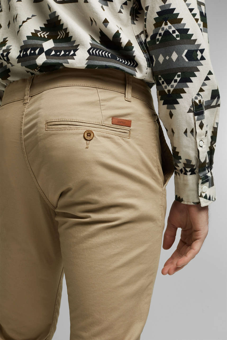 Stretch chinos in stretch cotton, BEIGE, detail image number 2