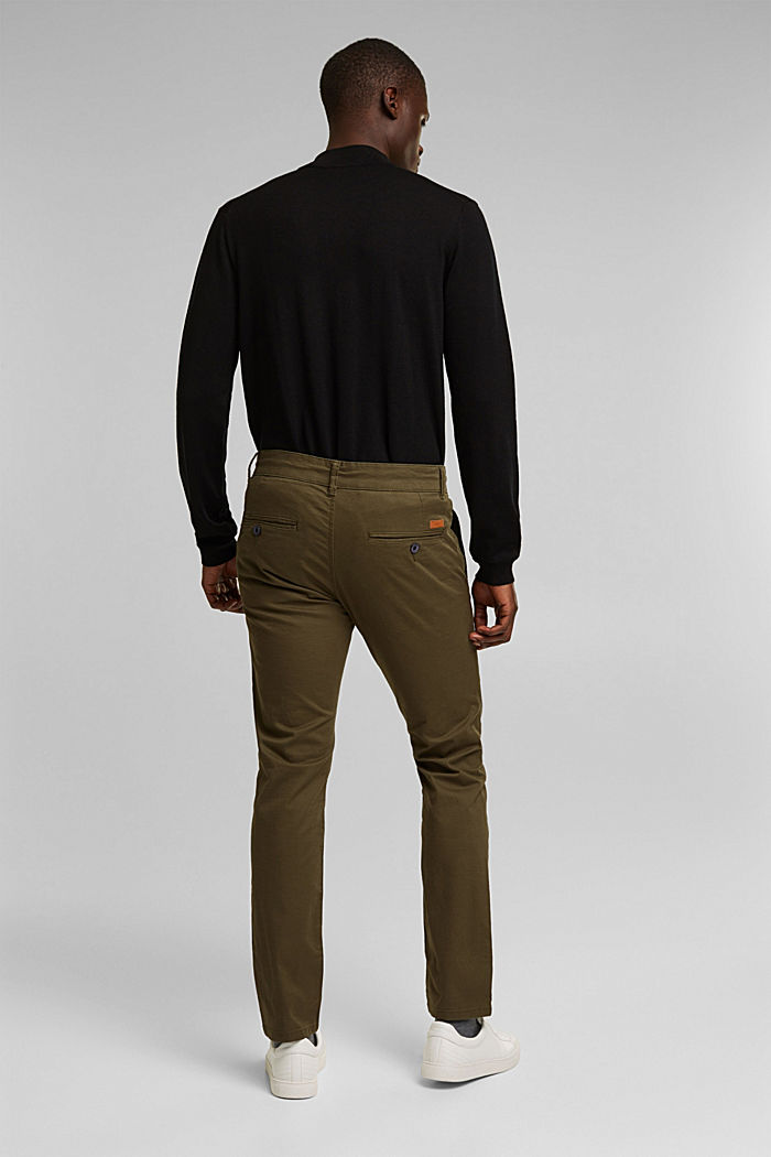 Pantalon chino en coton stretch, OLIVE, detail image number 3