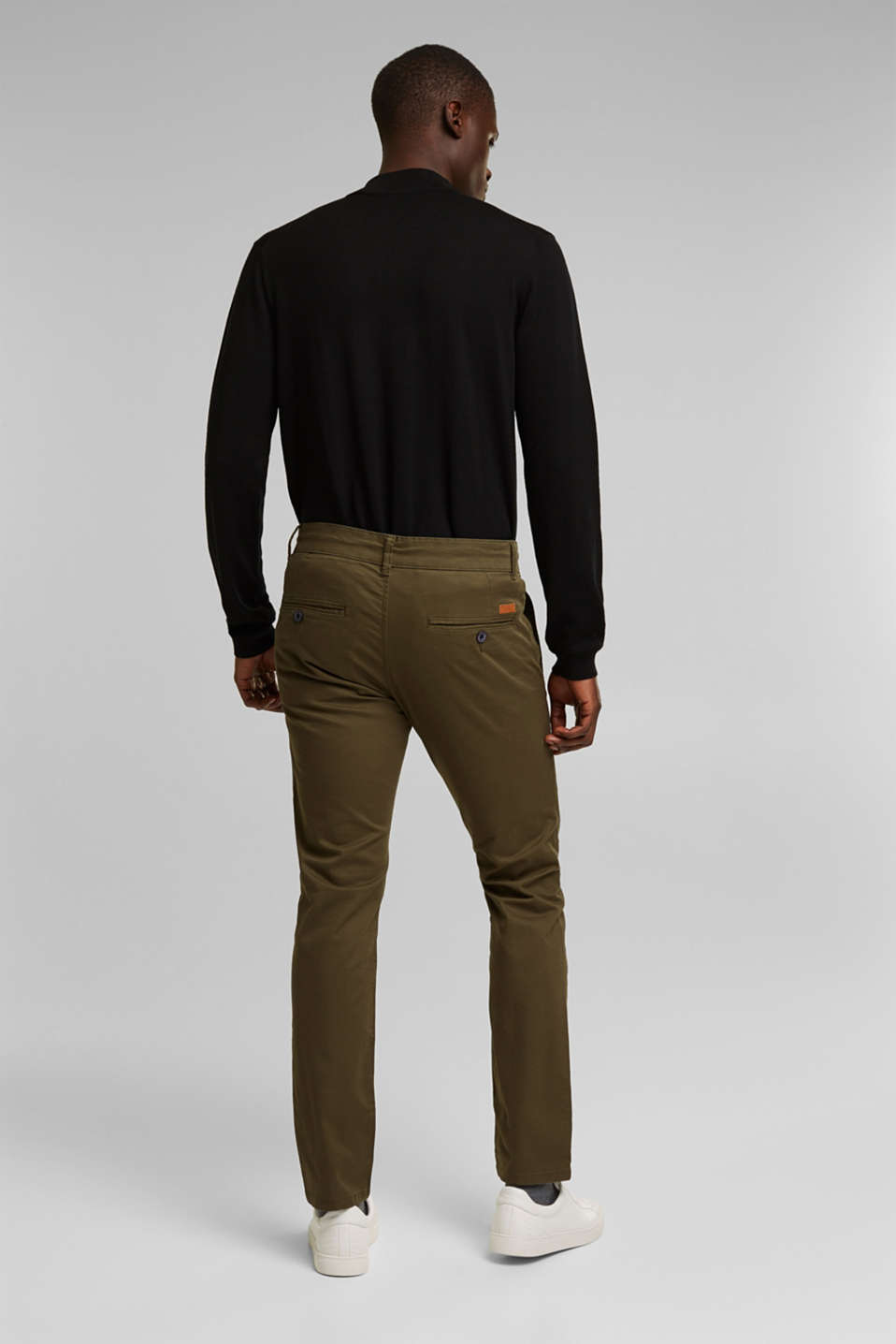 Stretch chinos in stretch cotton, OLIVE, detail image number 3