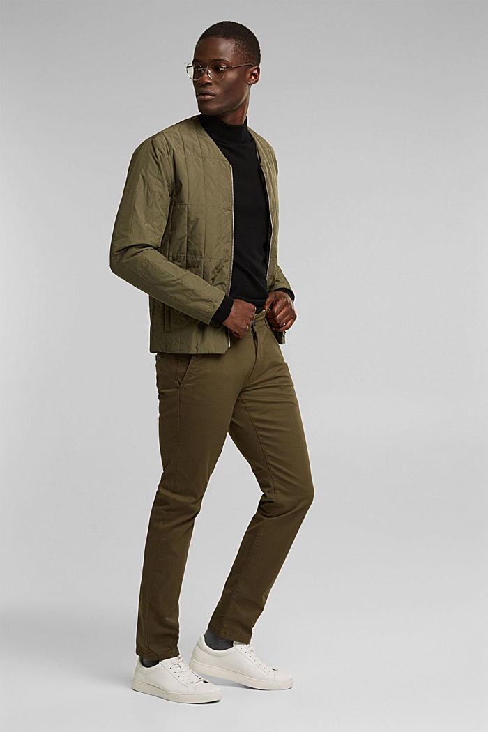 Pantalon chino en coton stretch, OLIVE, detail image number 1