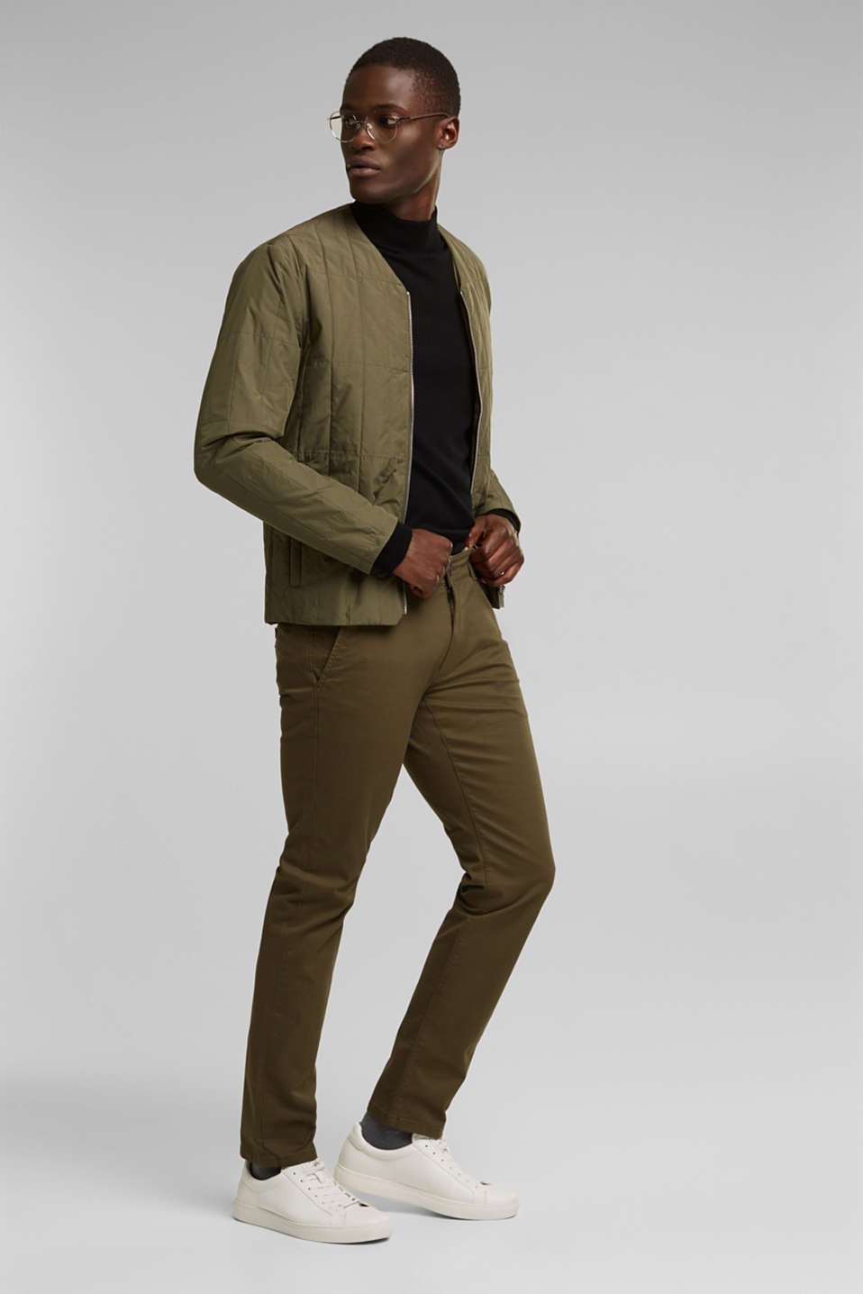 Stretch chinos in stretch cotton, OLIVE, detail image number 1