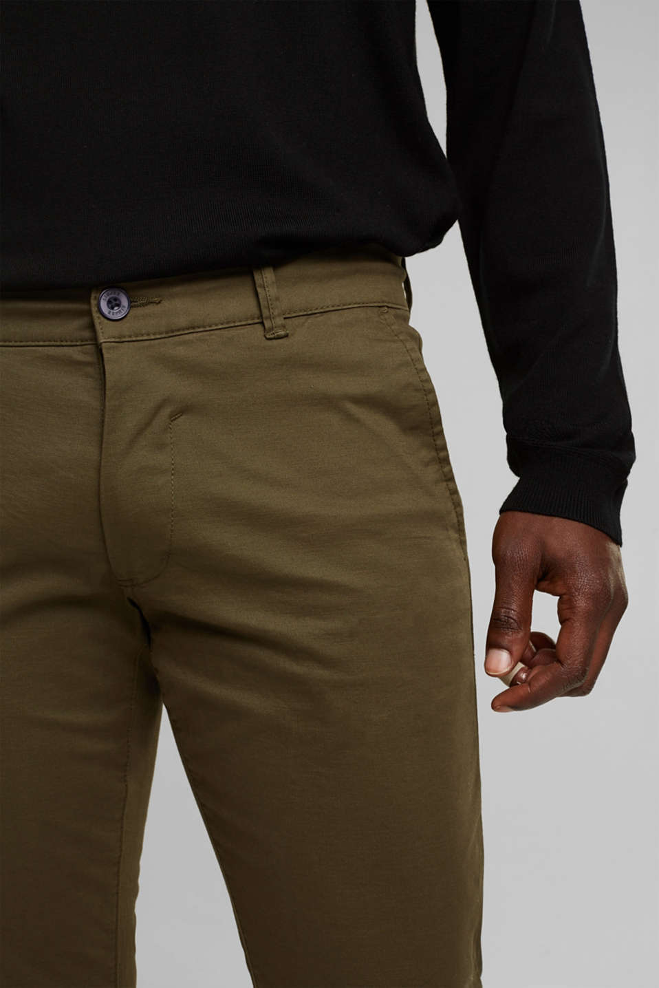 Stretch chinos in stretch cotton, OLIVE, detail image number 2