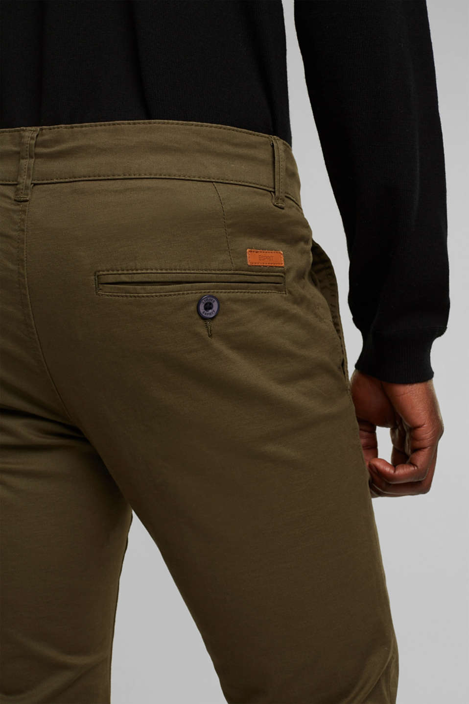 Stretch chinos in stretch cotton, OLIVE, detail image number 5