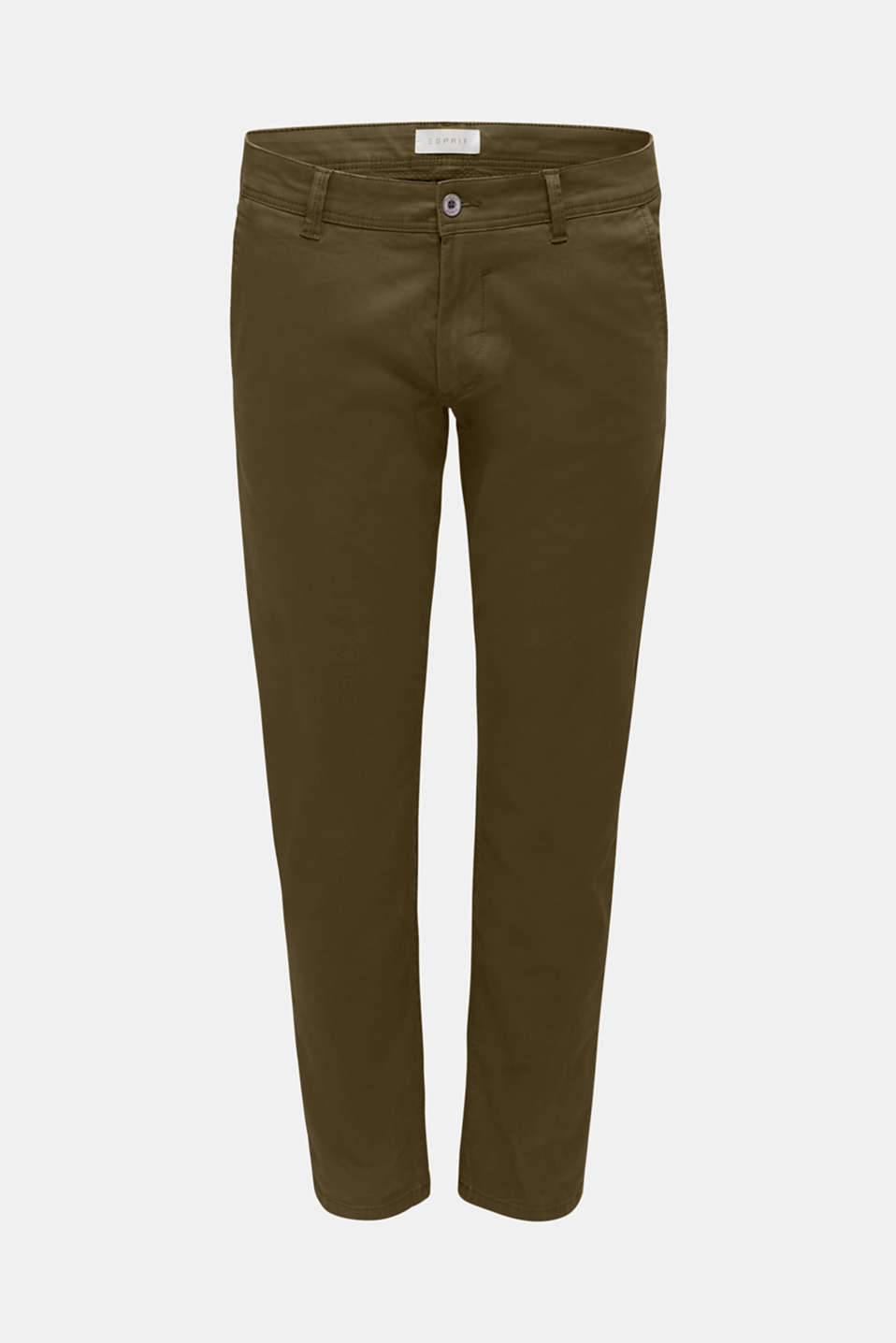 Stretch chinos in stretch cotton, OLIVE, detail image number 6