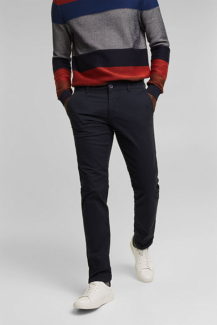 Stretch chinos in stretch cotton, NAVY, detail image number 0