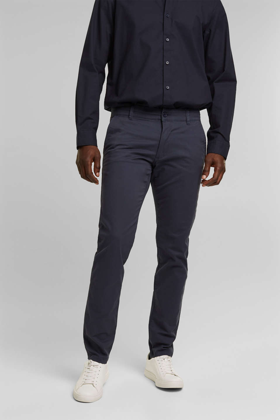 Stretch chinos in stretch cotton, BLUE, detail image number 0