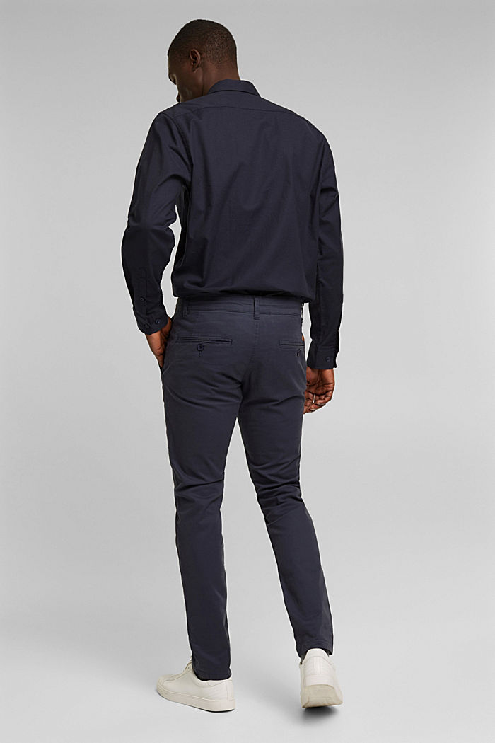 Stretch chinos in stretch cotton, BLUE, detail image number 3