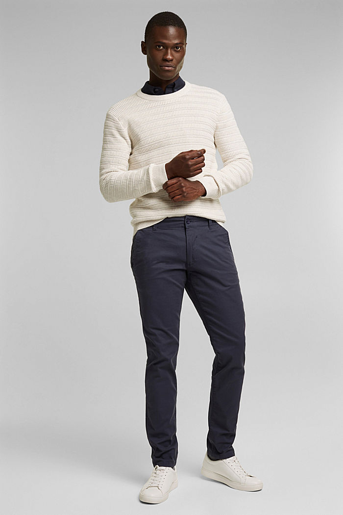 Stretch chinos in stretch cotton, BLUE, detail image number 1