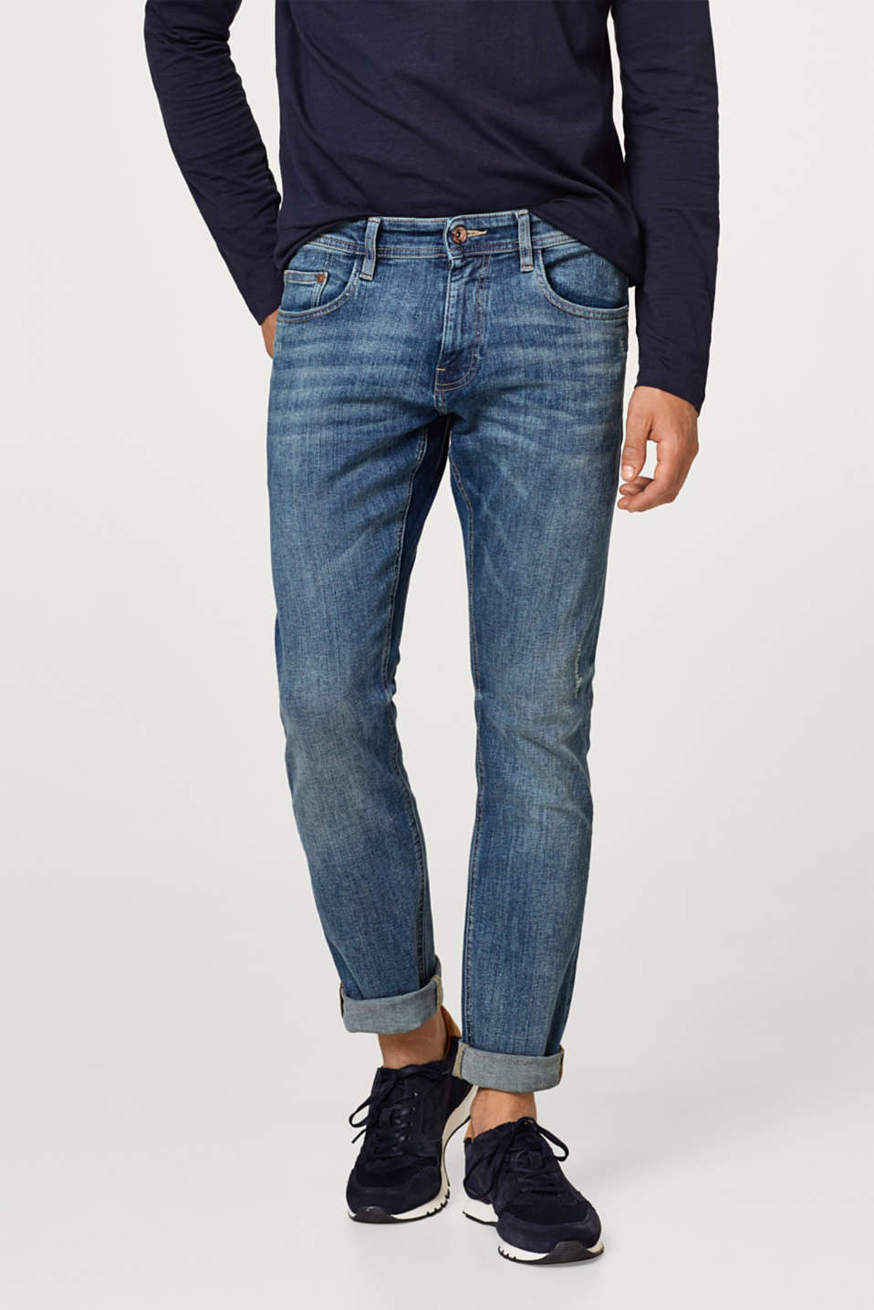 Esprit - Stretch jeans with vintage effects, organic cotton