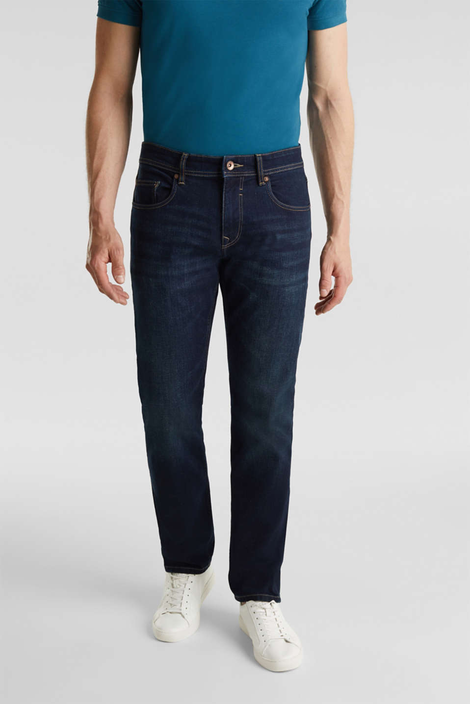 Esprit - Dark stretch jeans with organic cotton