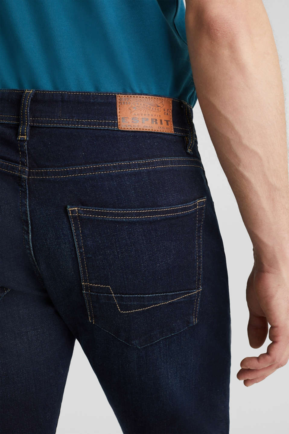 Stretch jeans containing organic cotton, BLUE DARK WASH, detail image number 3