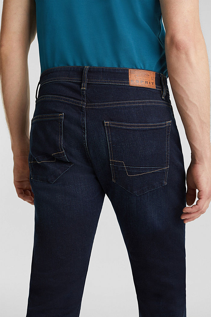 Stretch jeans containing organic cotton, BLUE DARK WASHED, detail image number 4