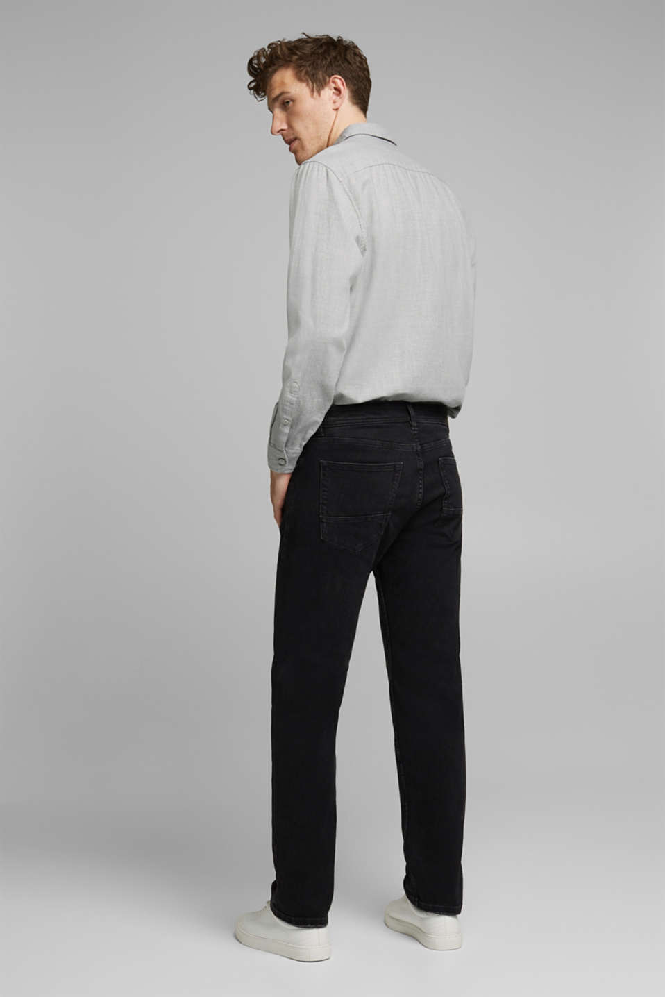 Stretch jeans in a washed out look, BLACK DARK WASH, detail image number 1