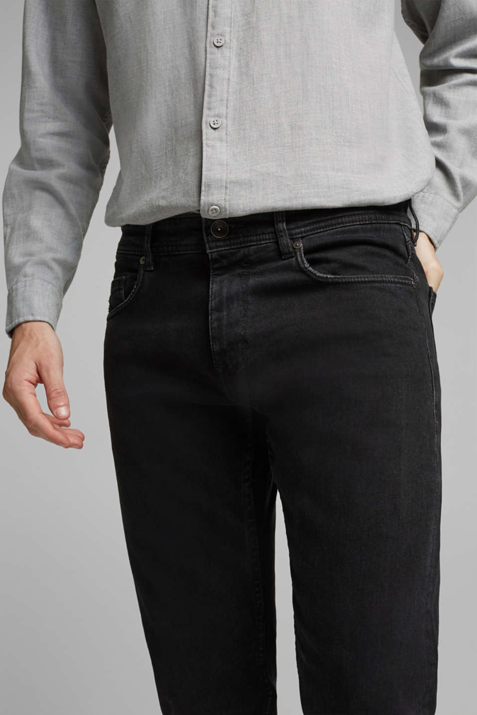 Stretch jeans in a washed out look, BLACK DARK WASH, detail image number 5