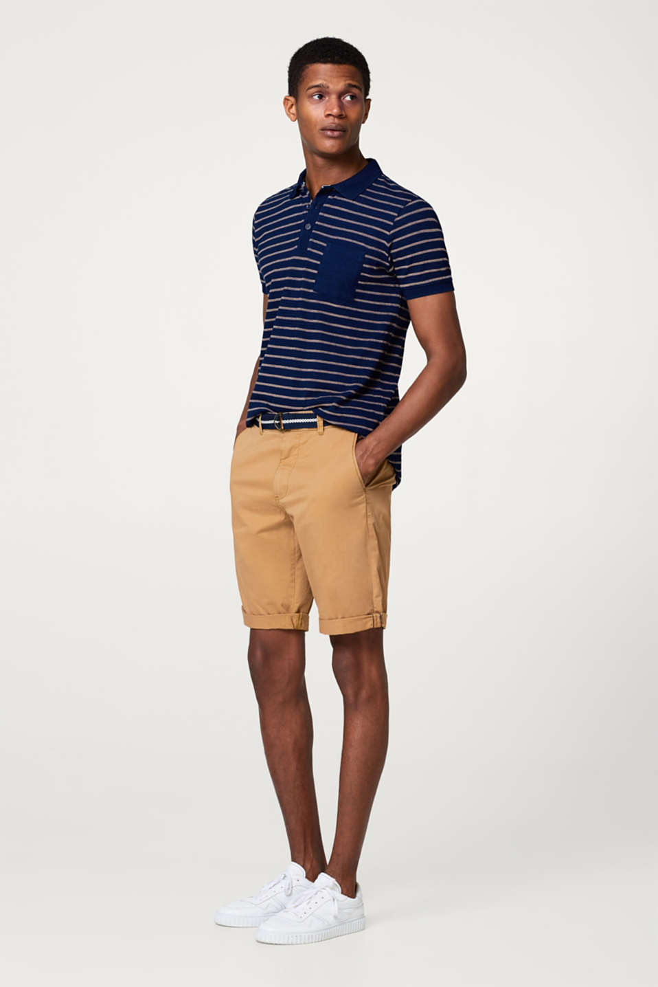Stretch cotton shorts with a woven belt