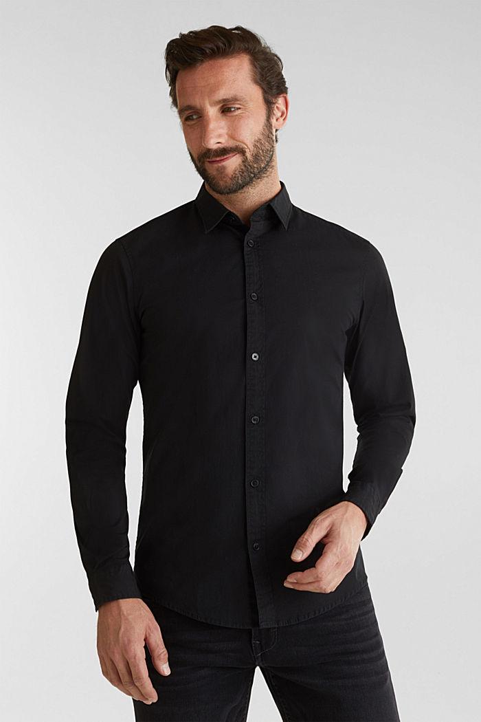 Poplin top in stretch cotton, BLACK, detail image number 0
