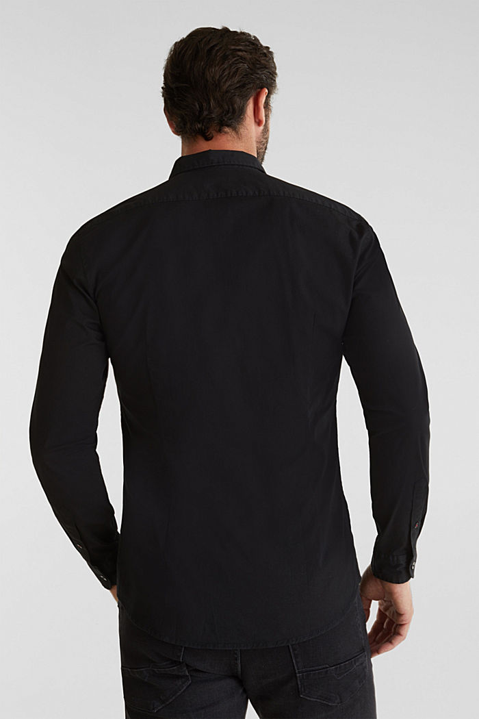 Poplin top in stretch cotton, BLACK, detail image number 2