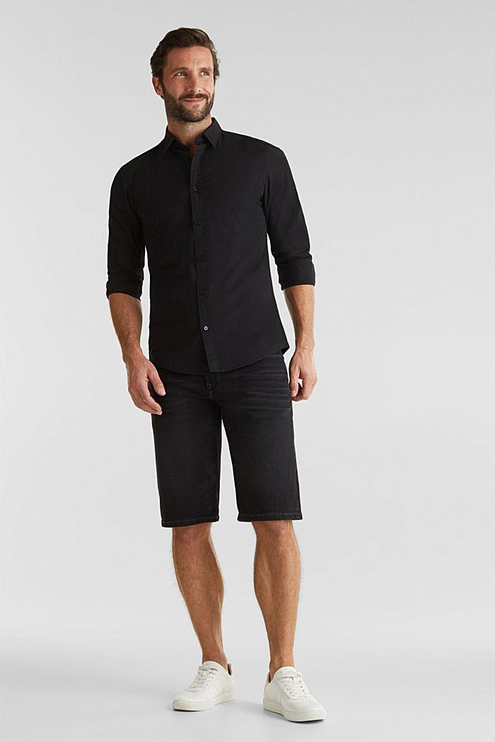 Poplin top in stretch cotton, BLACK, detail image number 1