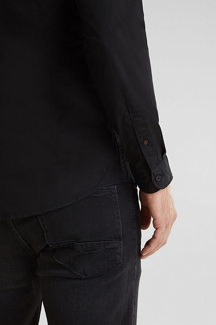 Poplin top in stretch cotton, BLACK, detail image number 4