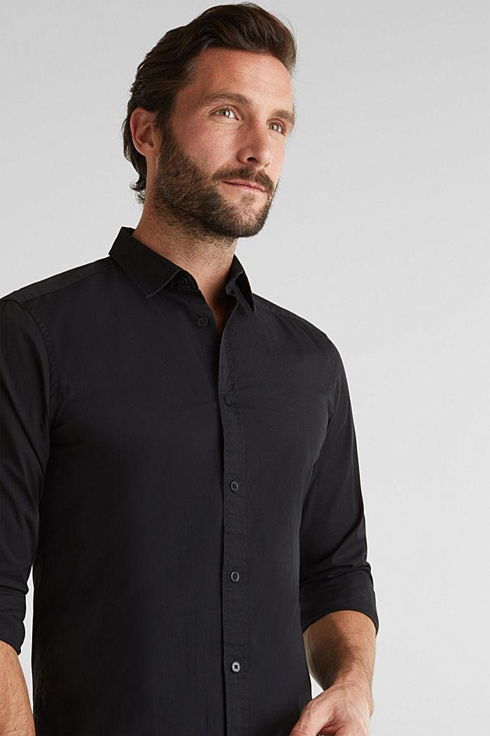 Poplin top in stretch cotton, BLACK, detail image number 5