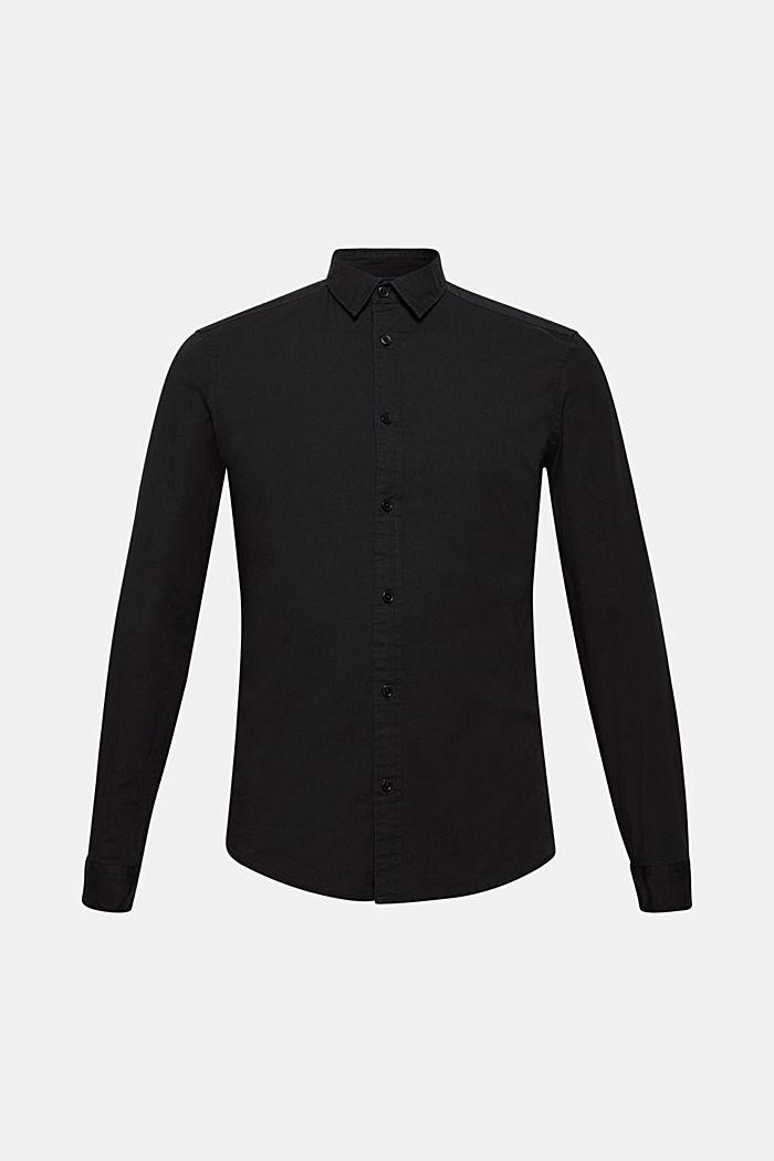 Poplin top in stretch cotton, BLACK, detail image number 6