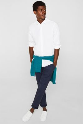 Poplin top in stretch cotton, WHITE, detail