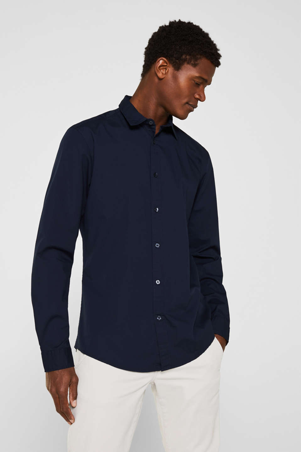 Poplin top in stretch cotton, NAVY, detail image number 0