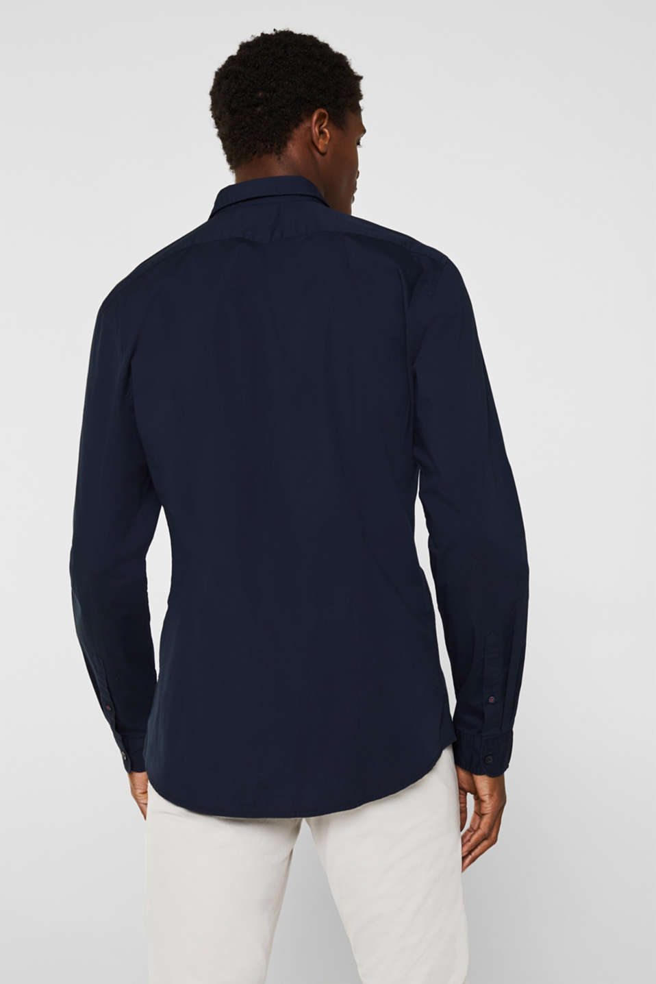 Poplin top in stretch cotton, NAVY, detail image number 3
