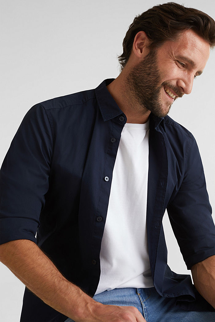 Poplin top in stretch cotton, NAVY, detail image number 6