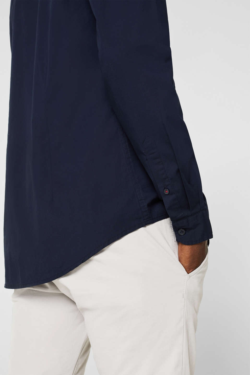 Poplin top in stretch cotton, NAVY, detail image number 2