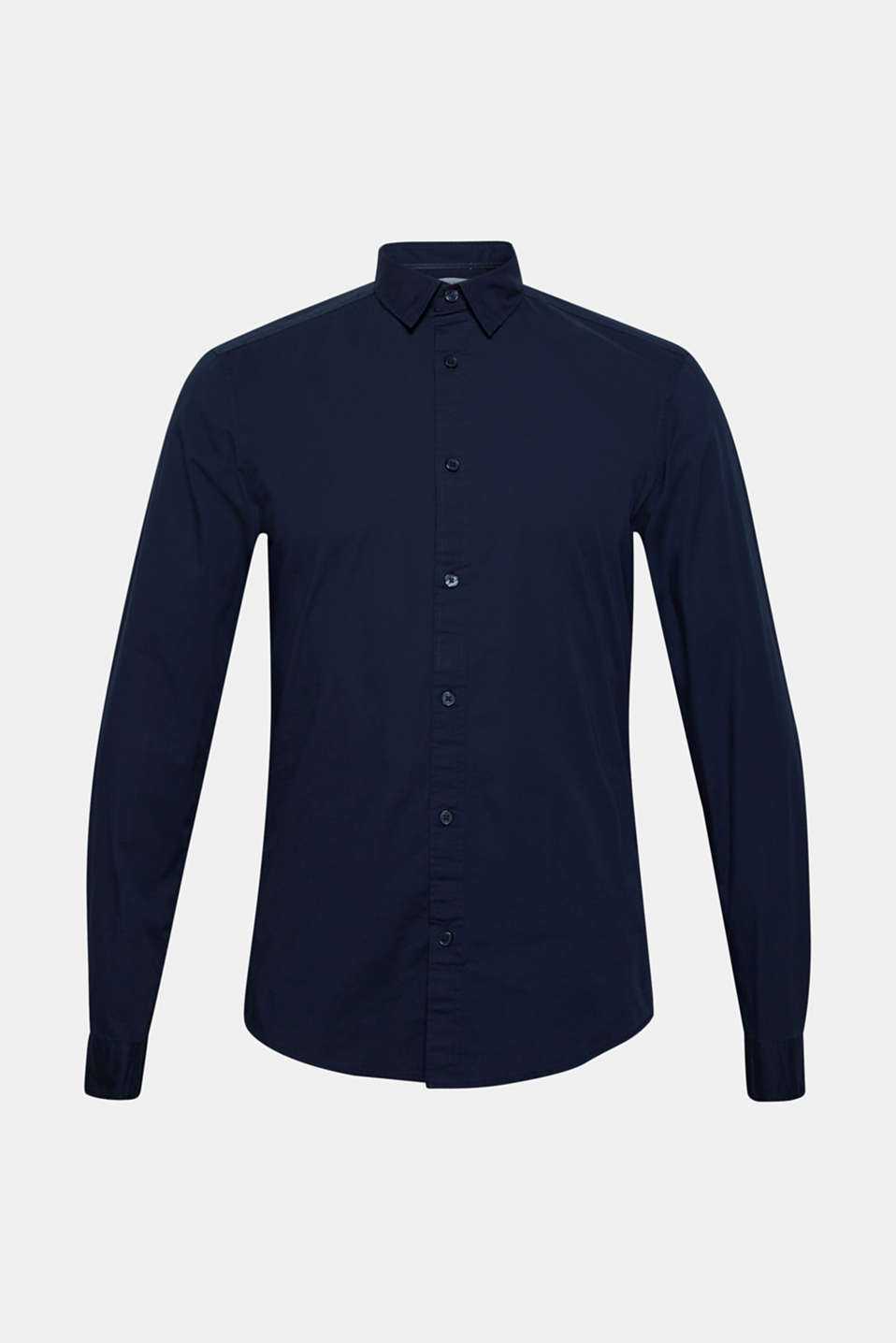 Poplin top in stretch cotton, NAVY, detail image number 8