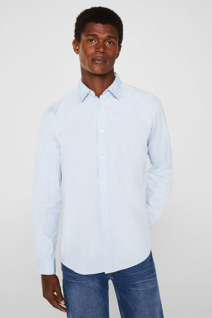Poplin top in stretch cotton, LIGHT BLUE, detail image number 0