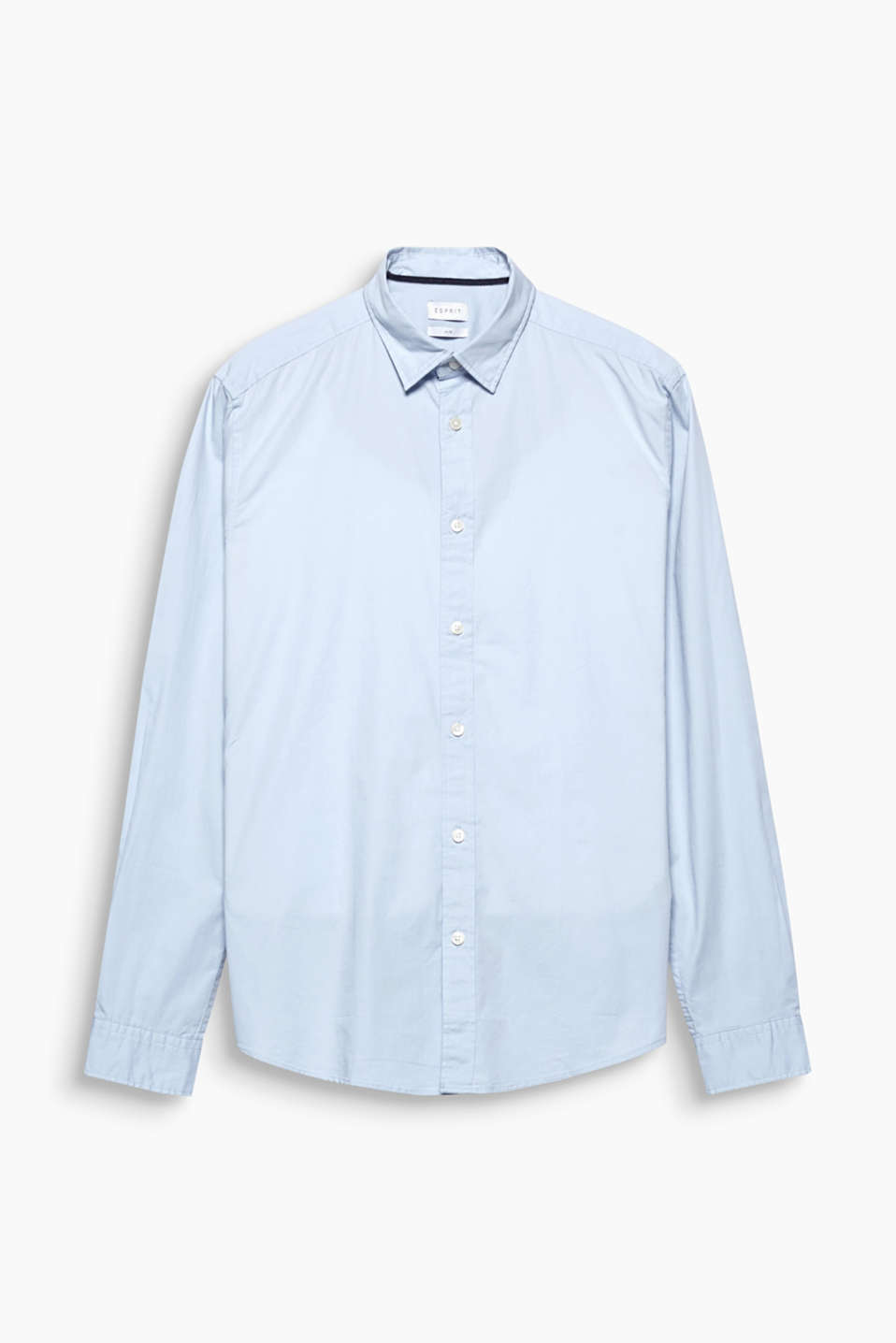 Your new go-to fashion basic: stretch cotton shirt with a narrow collar.