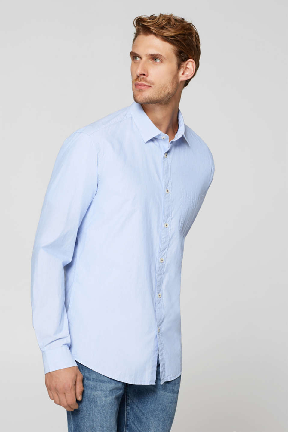 Esprit - Finely striped shirt made of organic cotton