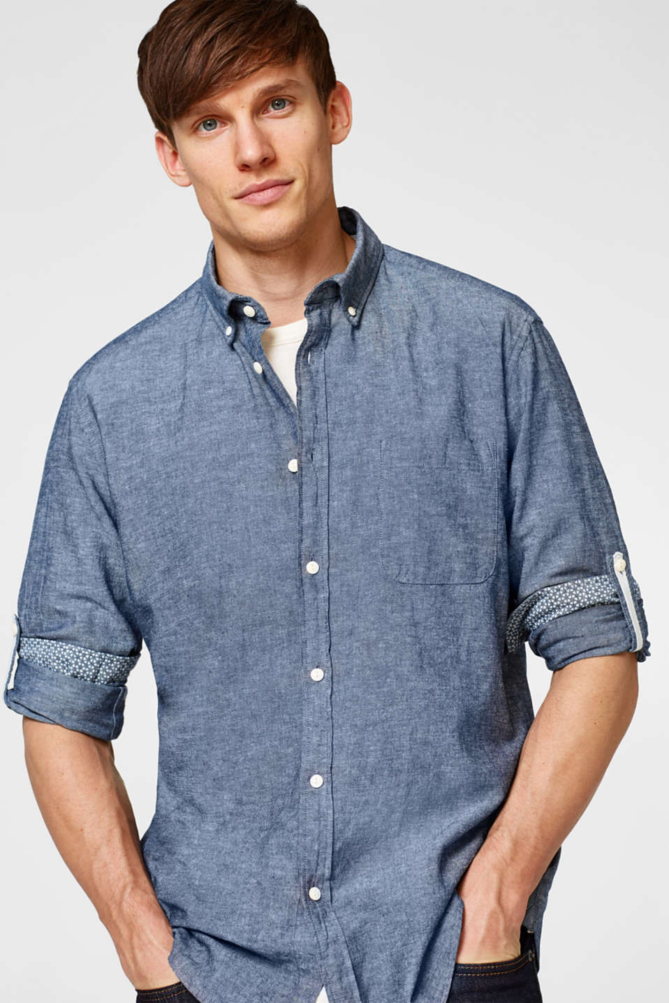 Esprit - Linen blend shirt with turn-up sleeves