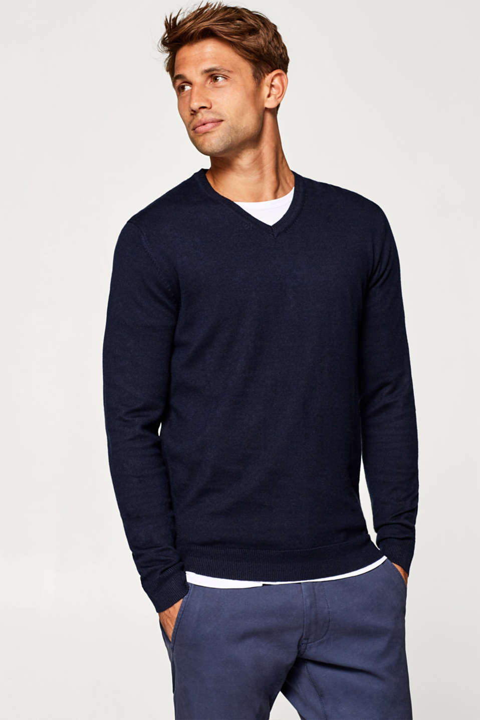 Esprit - Cotton jumper containing cashmere