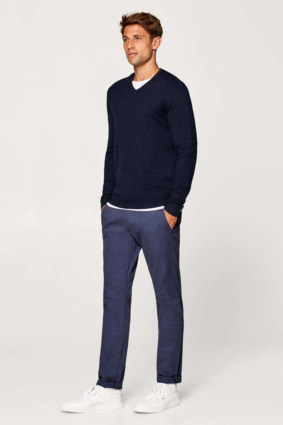 Cotton jumper containing cashmere