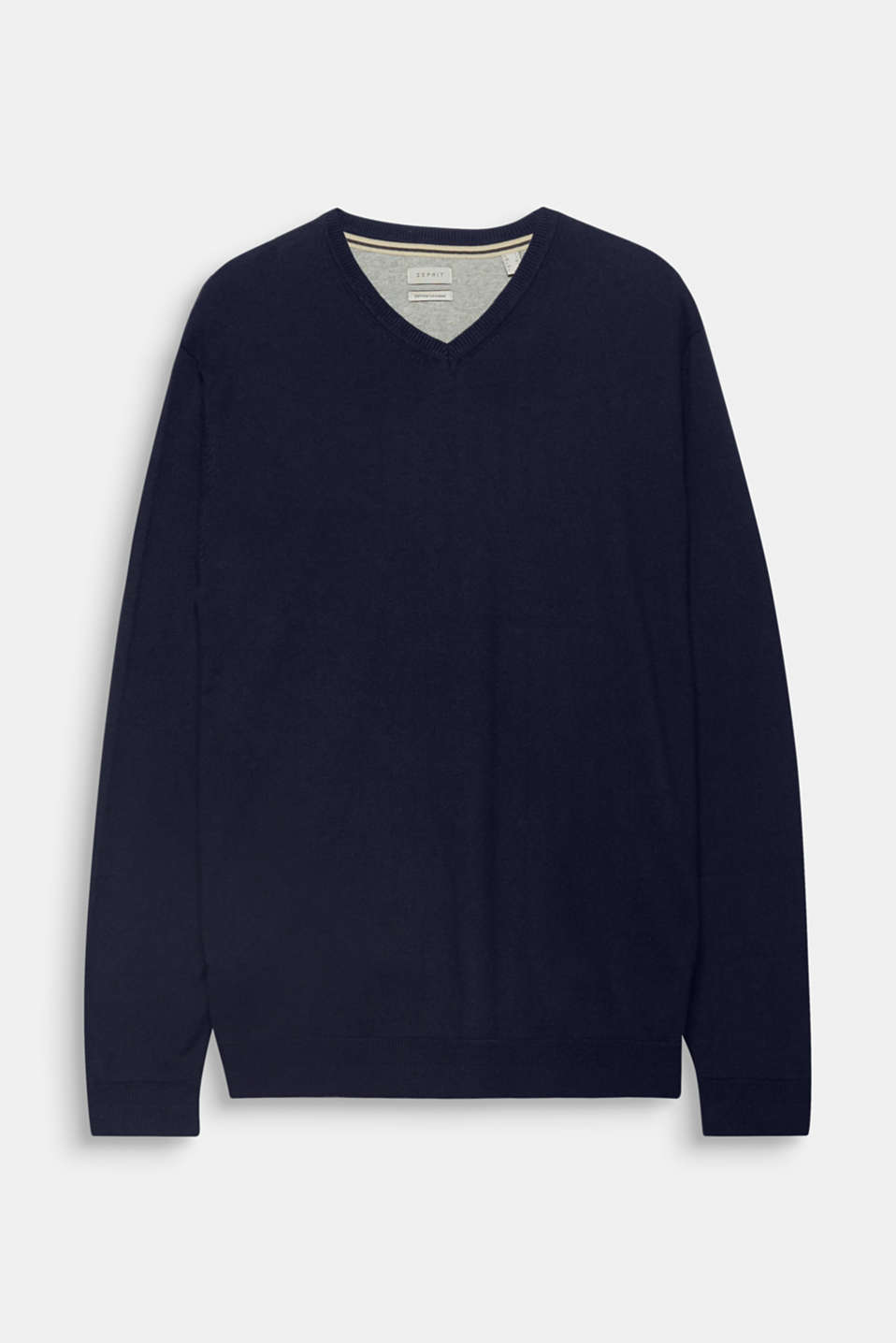 This V-neck cotton jumper containing exquisite cashmere is an essential, elegant addition to your wardrobe.