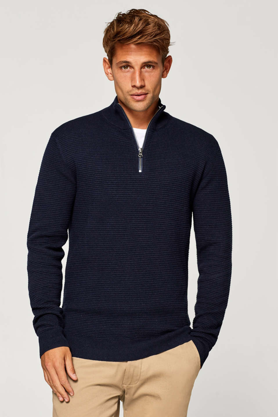 Esprit - With cashmere: Zip cotton jumper
