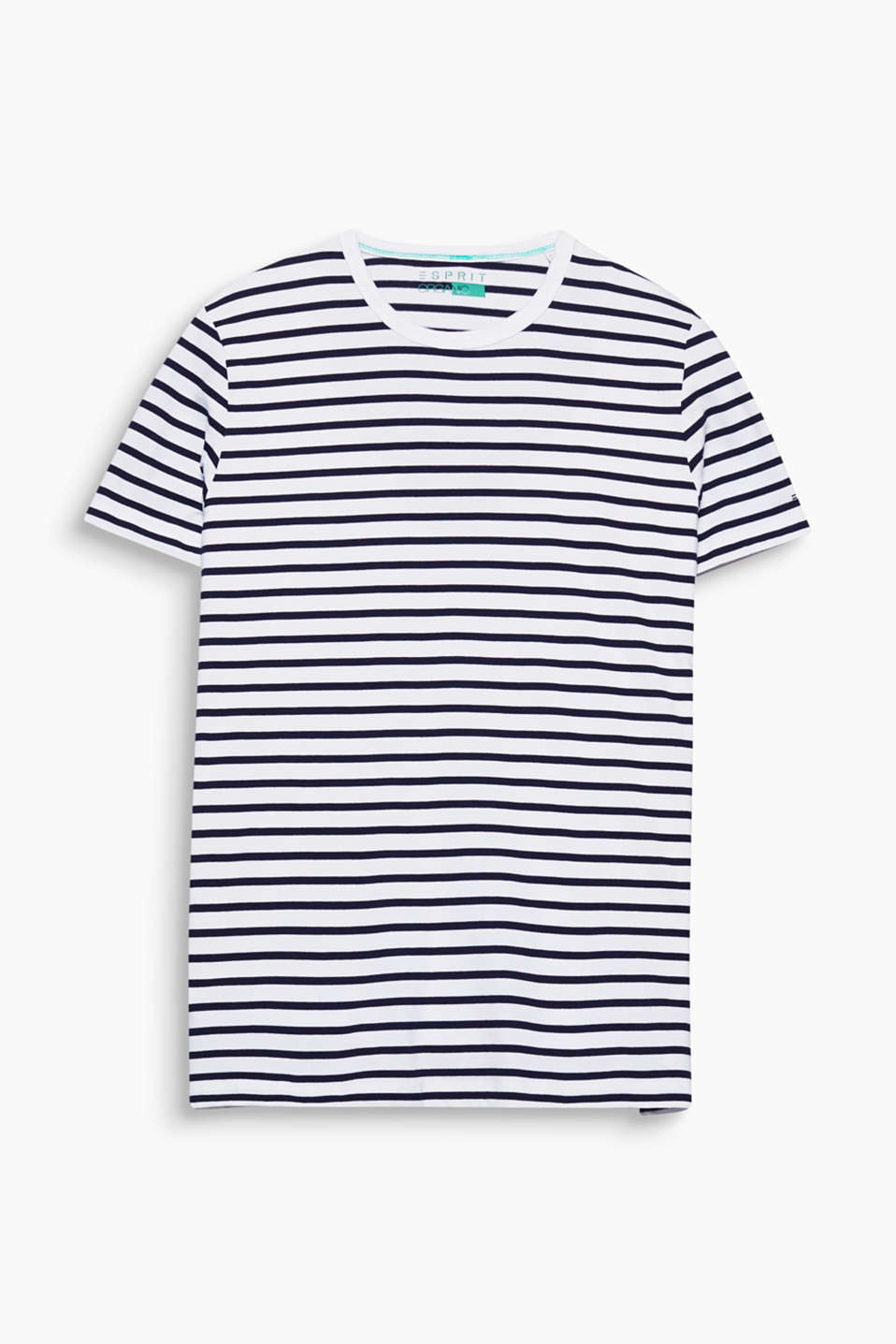 Your go-to fashion basic: nautically striped tee made of environmentally-friendly, premium organic cotton.