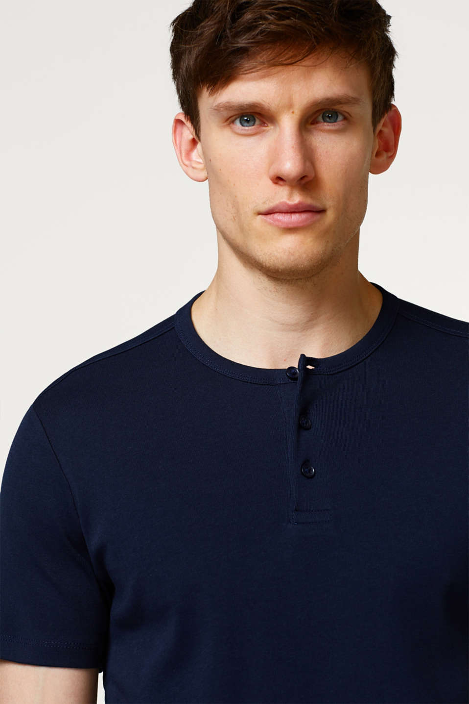 Basic ribbed T-shirt with Henley neckline