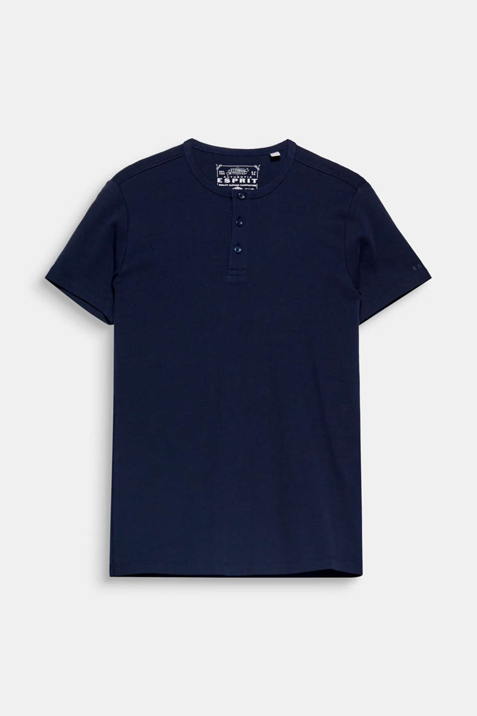 This Henley T-shirt in ribbed jersey composed of 100% cotton is your must-have fashion basic